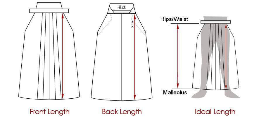 Schéma pour les mesures avant et arrière (Hakama)